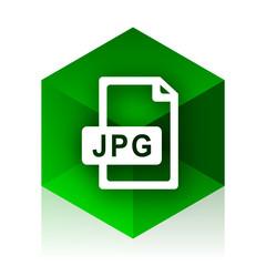 jpg file cube icon, green modern design web element