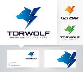 Thunder Wolf vector logo with alternative colors and business card template