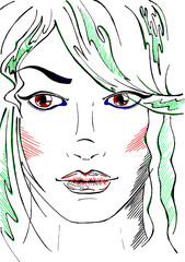Sketched line art neon fashion girl portrait vector
