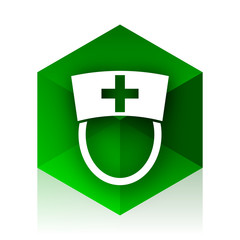 nurse cube icon, green modern design web element