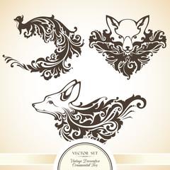 Decorative ornamental fox. Vector set