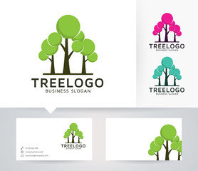 Tree Group vector logo with alternative colors and business card template