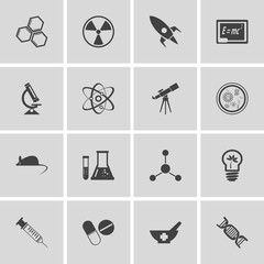 Vector  icons set and design elements. Research, technologies an