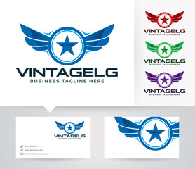 Vintage Guard vector logo with alternative colors and business card template