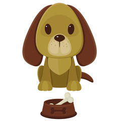 Sitting cartoon dog and pet bowl with bone