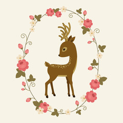 Little deer in a rose wreath