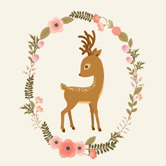 Little deer in a floral wreath