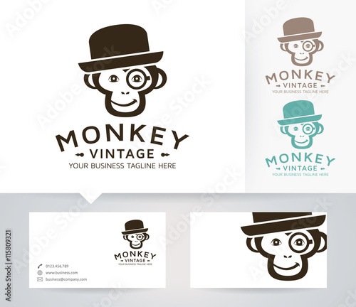 Vintage monkey vector logo with alternative colors and business card vintage monkey vector logo with alternative colors and business card template reheart Choice Image