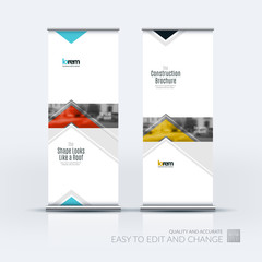 Vector set of modern roll up banner stand design with arrows, tr