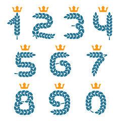 Numbers set logos formed by laurel wreath with crown.