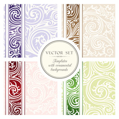 Vector set of  templates with ornamental backgrounds