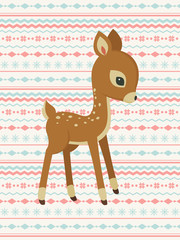 Baby deer pattern card