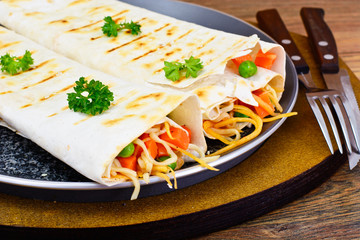 Pita Bread with Vegetables, Chinese Noodles and Arugula