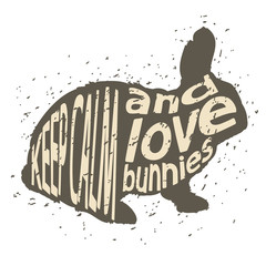 "Quote ""Keep calm and love bunnies"""