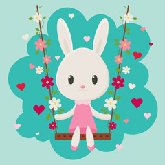 Cute cartoon bunny sitting on a floral swing