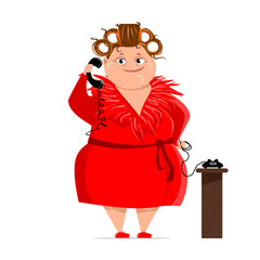 woman in curlers and bathrobe red with a phone
