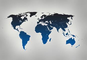Foto op Aluminium Wereldkaart blue world map on gray background