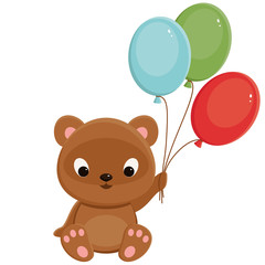 Brown teddy bear with balloons