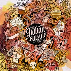 Cartoon hand-drawn doodles Italian food frame