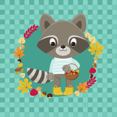 Cute Raccoon character with basket full of autumn figments. Checkered background with autumn leaves, acorns, mushrooms, chestnuts.