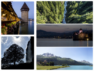 Beautiful swiss landscapes collage