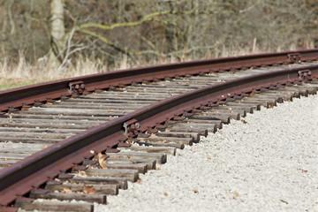 Turn of beautiful old rusty railway