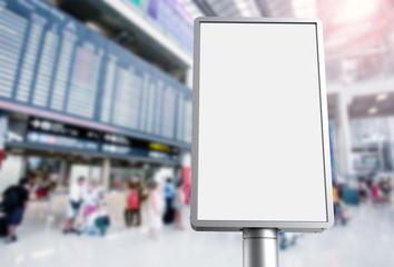 blank light box with airport background