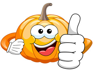 Cartoon pumpkin thumb up isolated