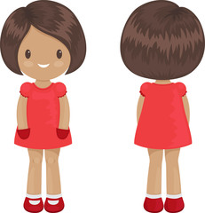 Little girl body template in a dress. Front and back over white