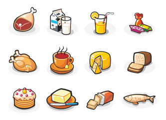 Vector icons of food. Cartoon illustration.