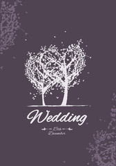 Tree of love for romantic card of wedding