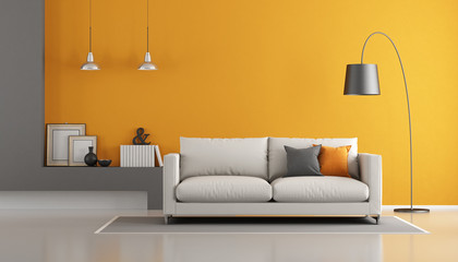 Gray and orange modern lounge Wall mural