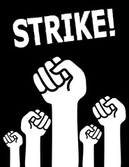 Industrial action concept with the word Strike above clenched fists raised in solidarity