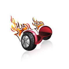 Vector icon of the attractive scooter. Fire flame added to show the sport character of drive.