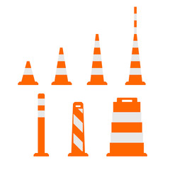 Traffic cones flat on white