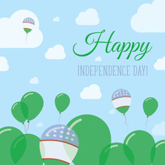 Uzbekistan Independence Day Flat Patriotic Design. Uzbekistani Flag Balloons. Happy National Day Vector Card.