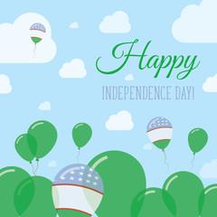 Uzbekistan Independence Day Flat Patriotic Design. Uzbekistani Flag Balloons. Happy National Day Vector Card.