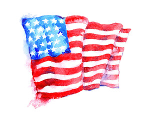 Watercolor painting of American national flag