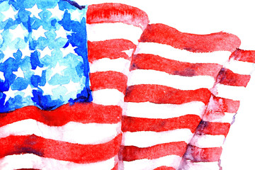 Watercolor painting of American national flag, close up