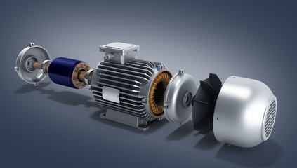 electric motor in disassembled state 3d illustration on a gradie Wall mural
