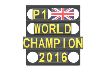 World Champion racing concept, pit board with flag of Great Brit