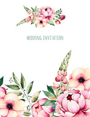 Beautiful watercolor card with place for text with flower,peonies,leaves,branches,lupin,air plant,strawberry,Handpainted illustration.Can be used as a greeting card,wedding,invitation,lettering,blogs