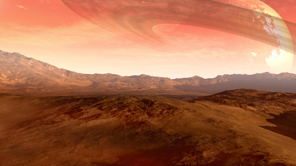 A Mars-like red planet with an arid landscape, rocky hills and mountains, and a giant moon at the horizon with Saturn-like rings, for space exploration and science fiction backgrounds.