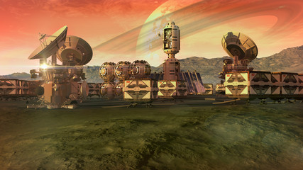 Scientific settlement on an arid planet with pods, crate containers and satellite dishes for planetary exploration backgrounds.