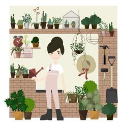 Gardening set. Vector illustrations with rural landscape, flowers, garden, cottage and garden tools