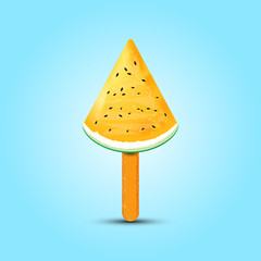Ice cream watermelon realistic. vector