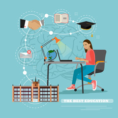 Online education concept. Vector illustration in flat style. Female student studying on internet and learning writing notes in a desk at home
