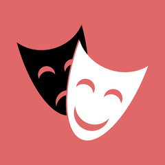 Smiling white theatrical mask and sad black on a red background