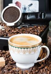 Cup of black coffee Arabica