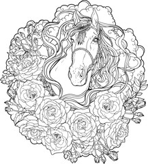 horse with clouds and roses. Coloring page.